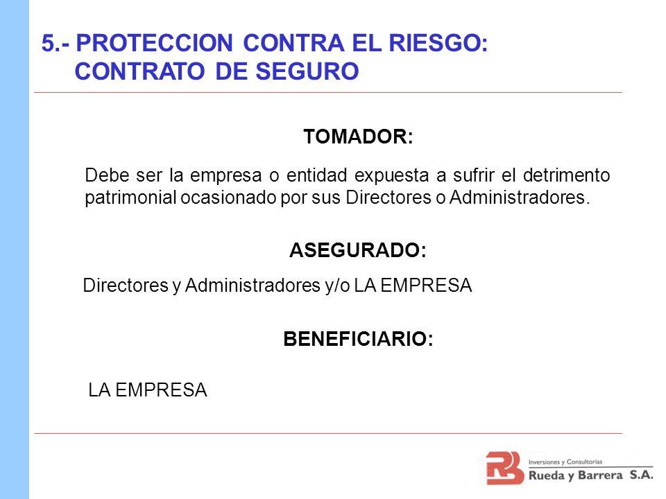 TOMADOR: ASEGURADO: BENEFICIARIO: 5.- PROTECCION CONTRA EL RIESGO: