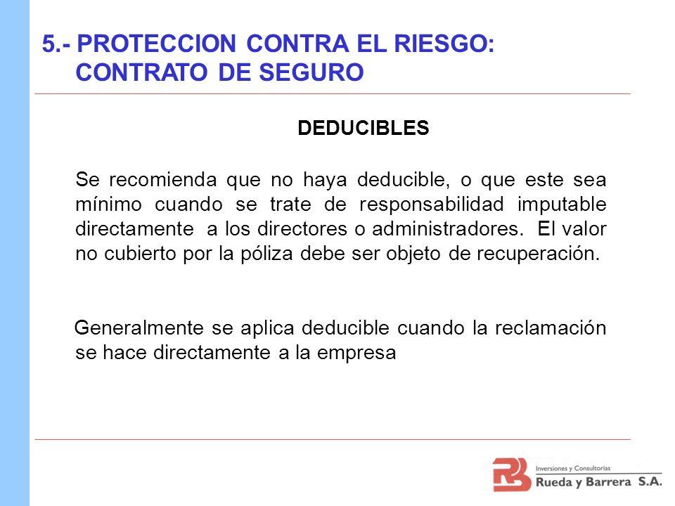 DEDUCIBLES 5.- PROTECCION CONTRA EL RIESGO: CONTRATO DE SEGURO