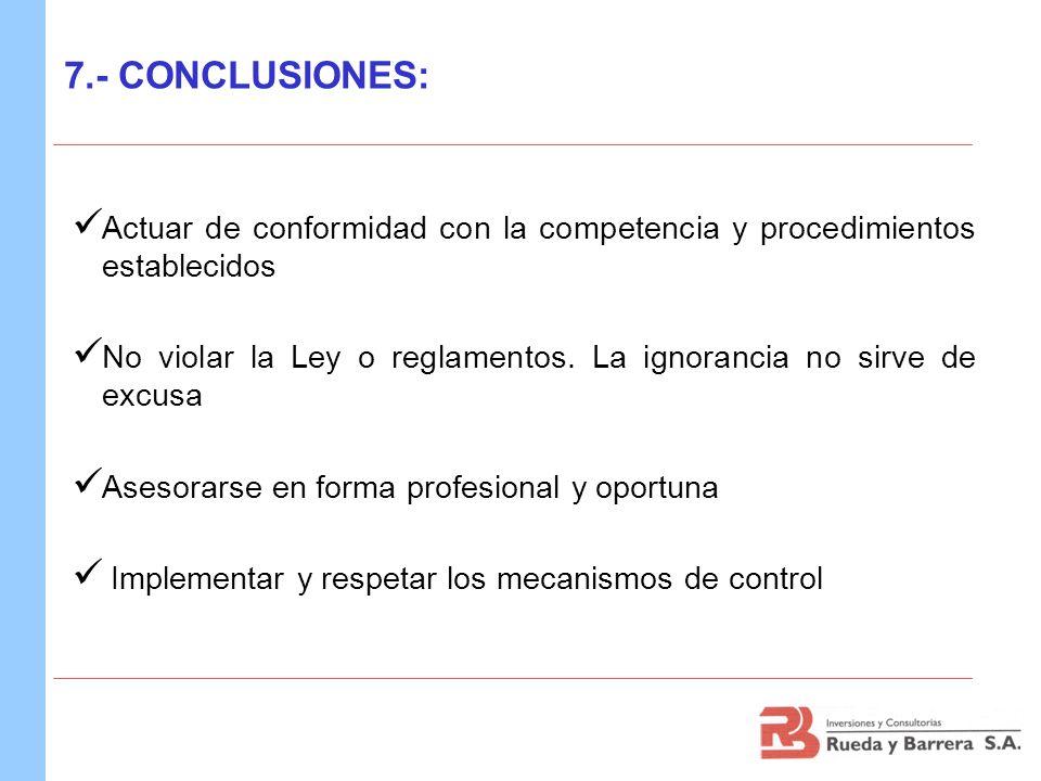 7.- CONCLUSIONES:Actuar de conformidad con la competencia y procedimientos establecidos.