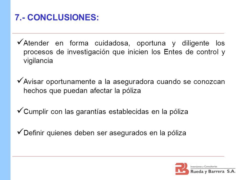 7.- CONCLUSIONES:Atender en forma cuidadosa, oportuna y diligente los procesos de investigación que inicien los Entes de control y vigilancia.