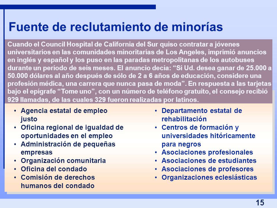 Fuente de reclutamiento de minorías