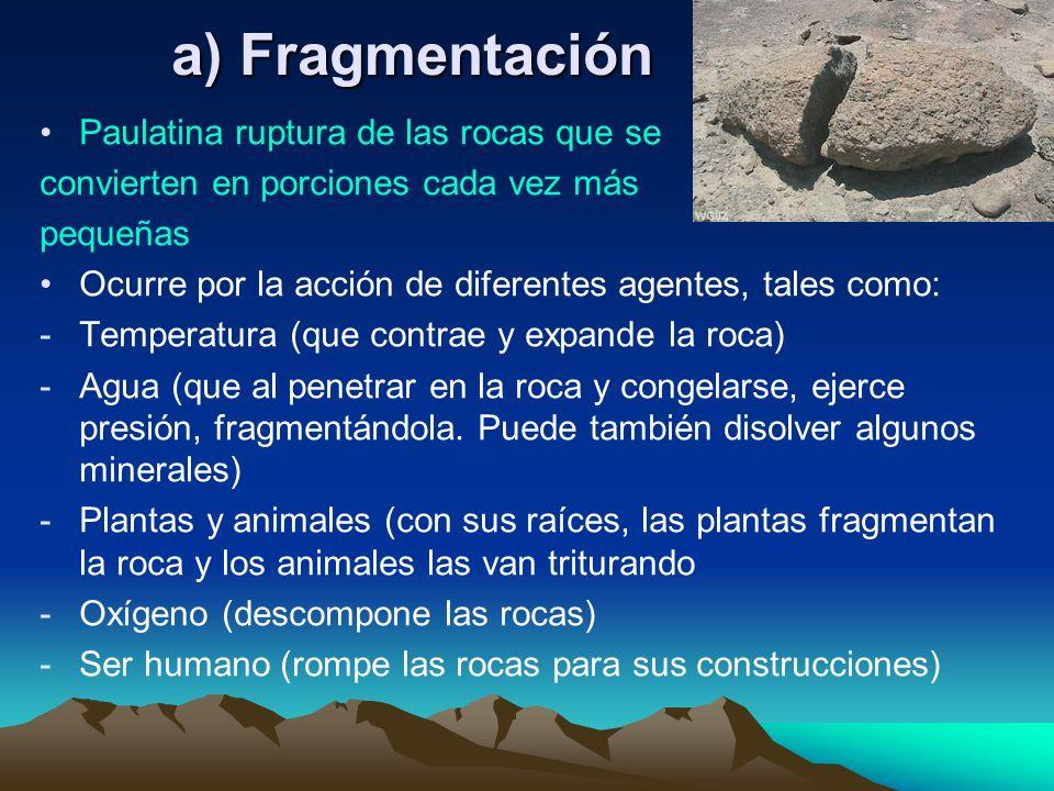 a) Fragmentación Paulatina ruptura de las rocas que se