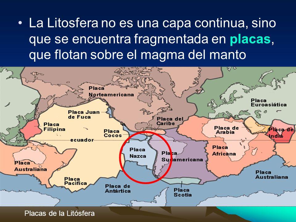 La Litosfera no es una capa continua, sino que se encuentra fragmentada en placas, que flotan sobre el magma del manto