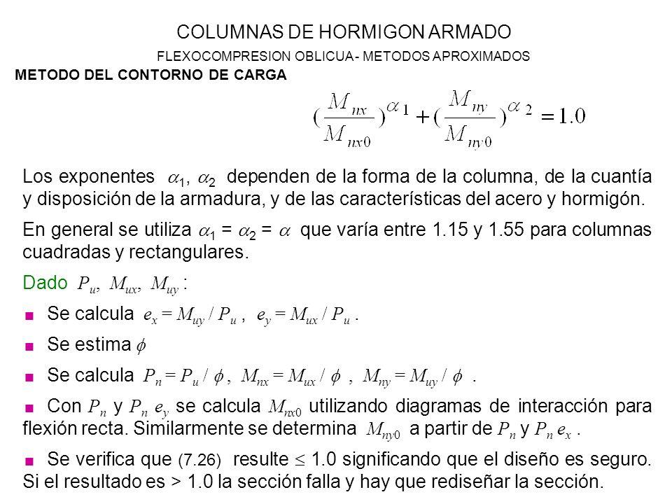 Se calcula ex = Muy / Pu , ey = Mux / Pu . Se estima 