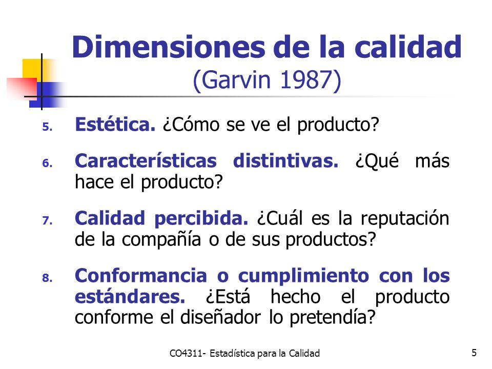 Dimensiones de la calidad (Garvin 1987)