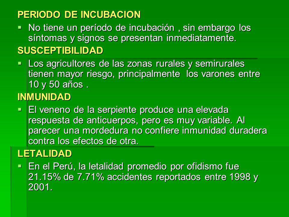 PERIODO DE INCUBACION No tiene un período de incubación , sin embargo los síntomas y signos se presentan inmediatamente.