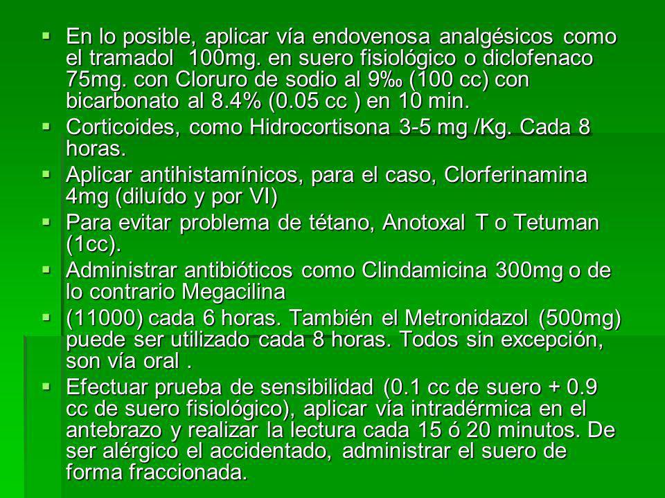 En lo posible, aplicar vía endovenosa analgésicos como el tramadol 100mg. en suero fisiológico o diclofenaco 75mg. con Cloruro de sodio al 9‰ (100 cc) con bicarbonato al 8.4% (0.05 cc ) en 10 min.