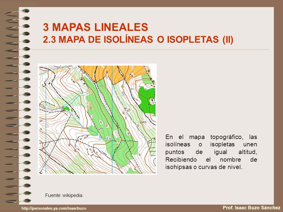 3 MAPAS LINEALES 2.3 MAPA DE ISOLÍNEAS O ISOPLETAS (II)