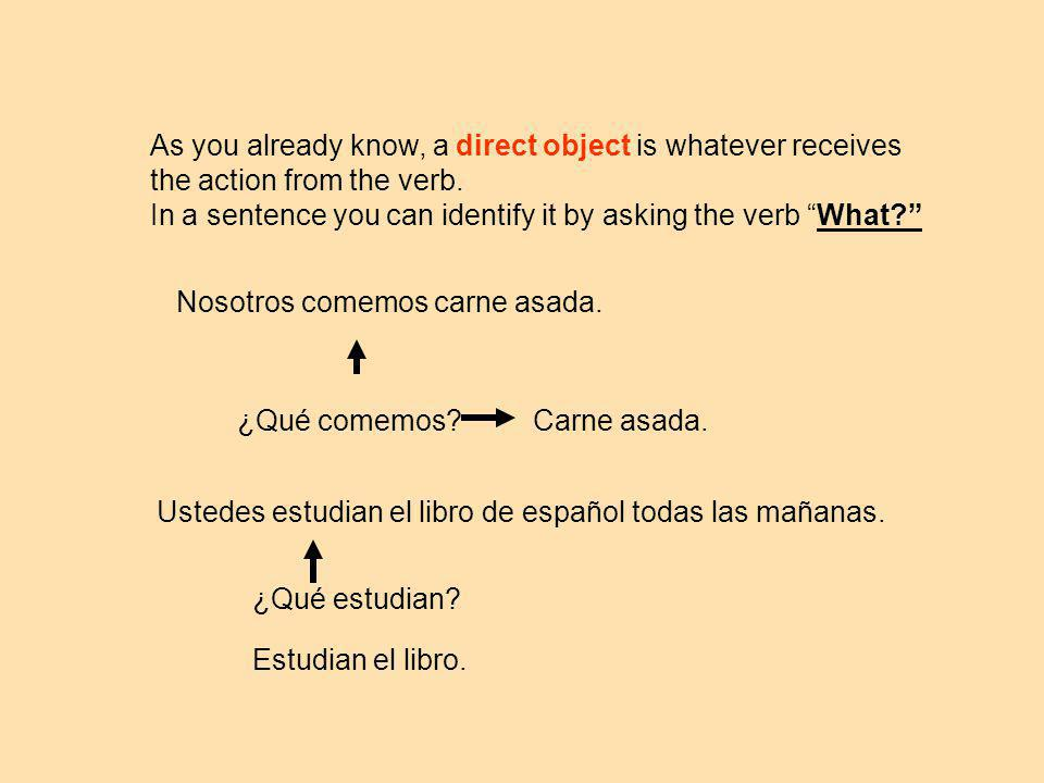 As you already know, a direct object is whatever receives the action from the verb.