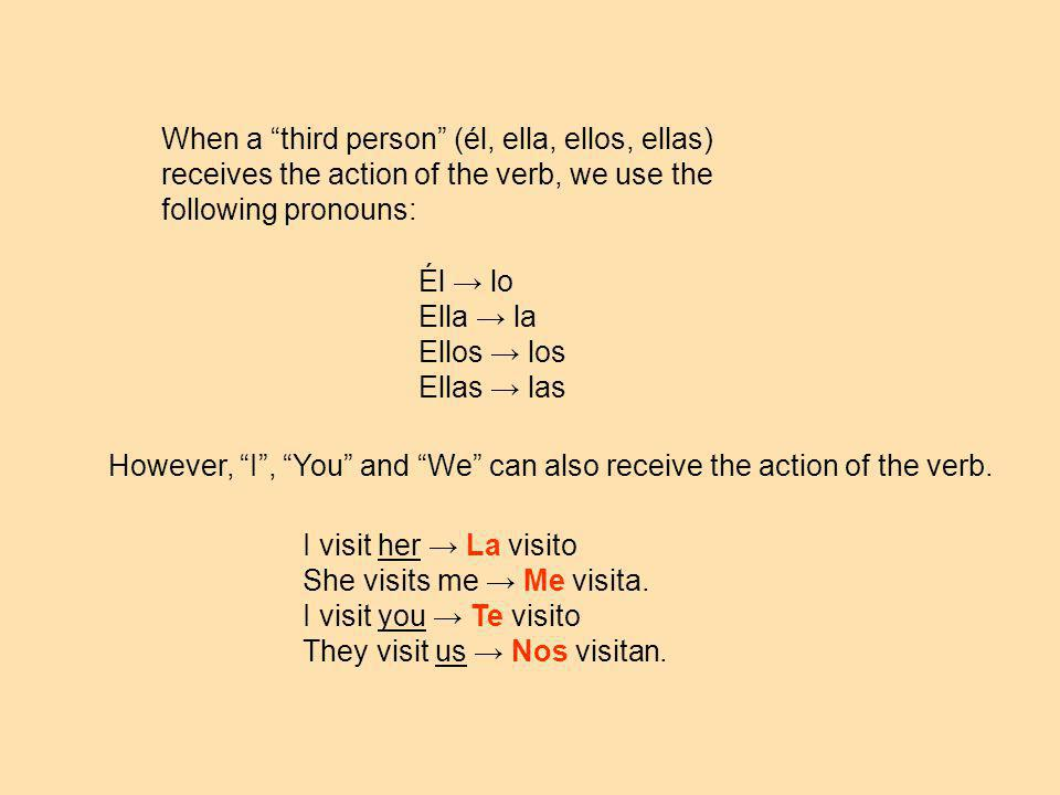 When a third person (él, ella, ellos, ellas) receives the action of the verb, we use the following pronouns: