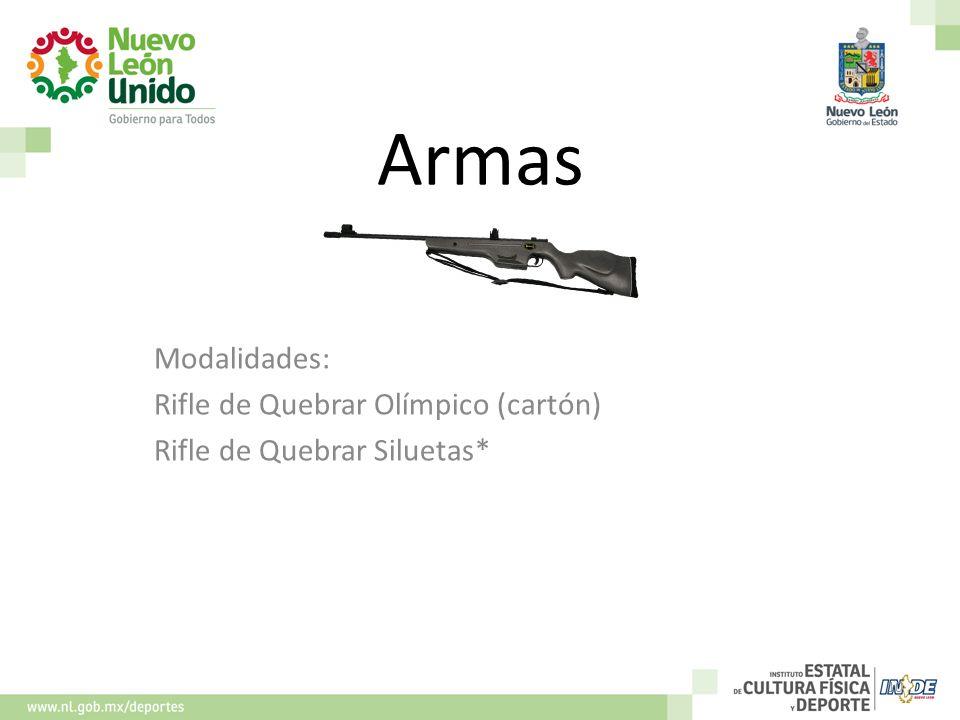Armas Modalidades: Rifle de Quebrar Olímpico (cartón)