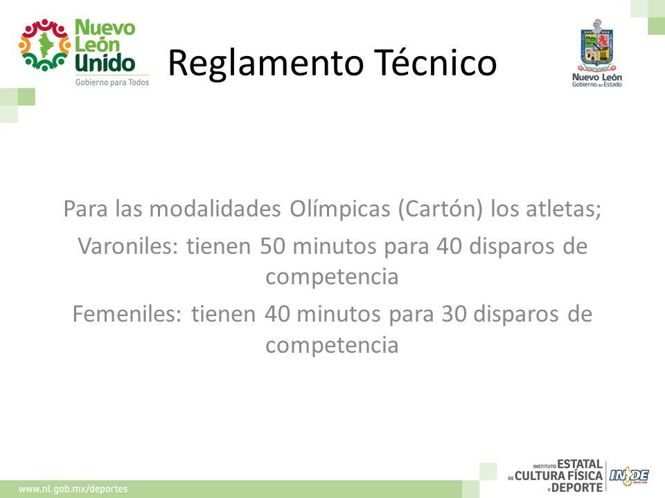 Reglamento Técnico Para las modalidades Olímpicas (Cartón) los atletas; Varoniles: tienen 50 minutos para 40 disparos de competencia.