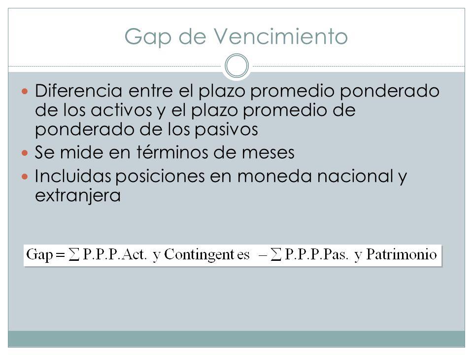 Gap de Vencimiento Diferencia entre el plazo promedio ponderado de los activos y el plazo promedio de ponderado de los pasivos.