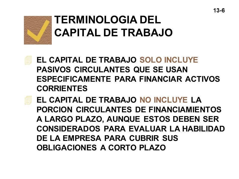 TERMINOLOGIA DEL CAPITAL DE TRABAJO