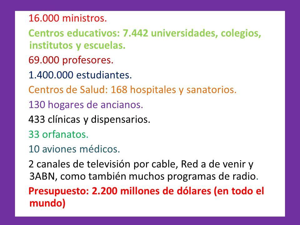 16.000 ministros.Centros educativos: 7.442 universidades, colegios, institutos y escuelas. 69.000 profesores.