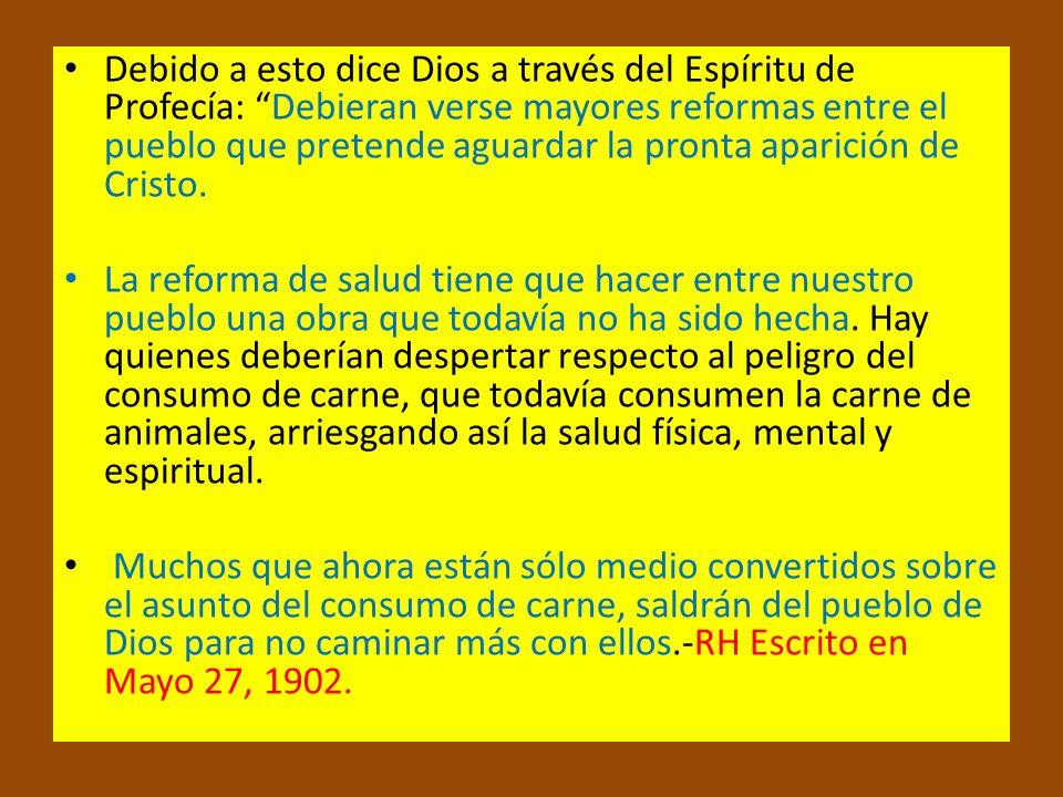 Debido a esto dice Dios a través del Espíritu de Profecía: Debieran verse mayores reformas entre el pueblo que pretende aguardar la pronta aparición de Cristo.