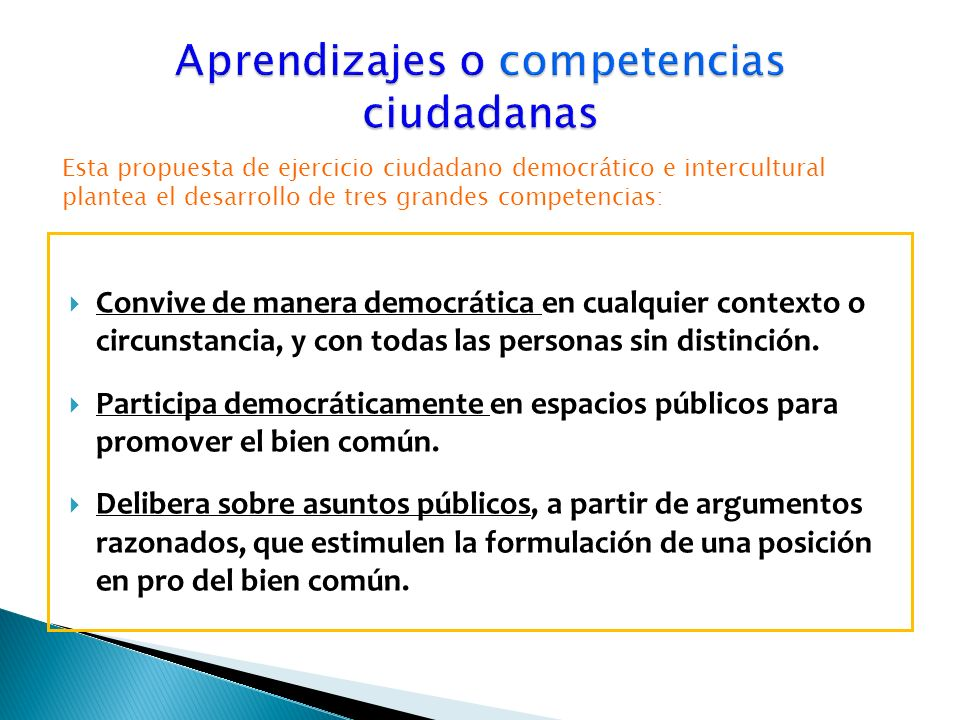 Aprendizajes o competencias ciudadanas