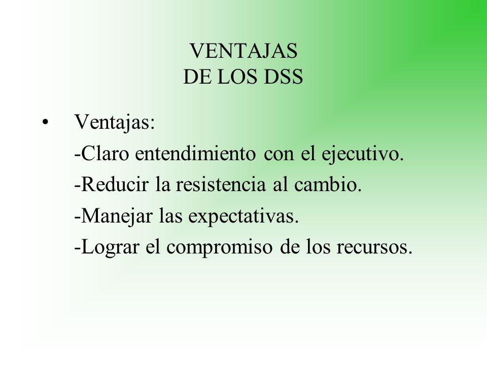 VENTAJAS DE LOS DSS Ventajas: -Claro entendimiento con el ejecutivo. -Reducir la resistencia al cambio.