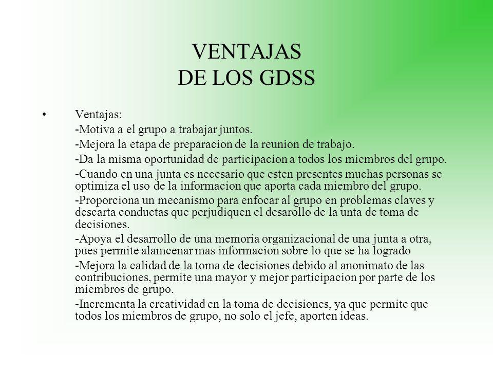 VENTAJAS DE LOS GDSS Ventajas: -Motiva a el grupo a trabajar juntos.