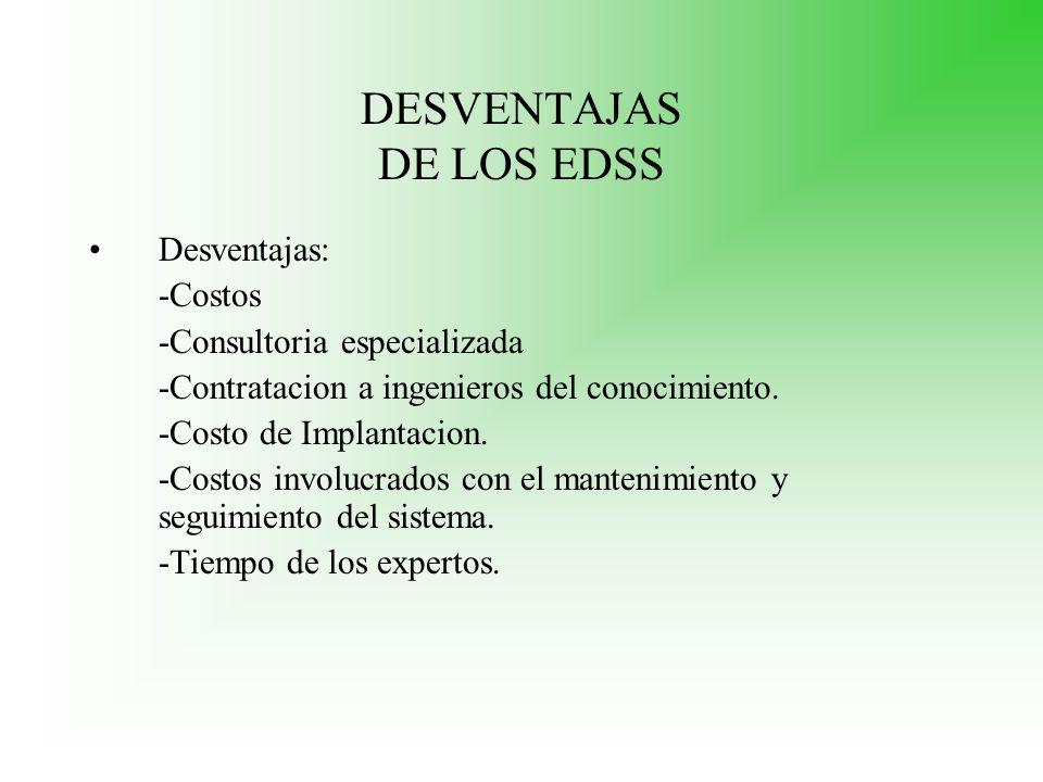 DESVENTAJAS DE LOS EDSS
