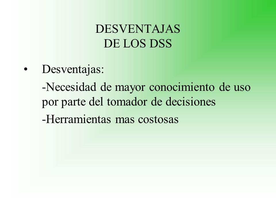 DESVENTAJAS DE LOS DSS Desventajas: -Necesidad de mayor conocimiento de uso por parte del tomador de decisiones.