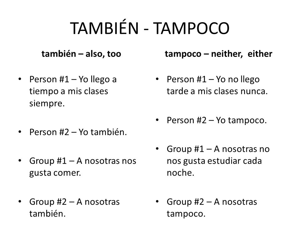 tampoco – neither, either