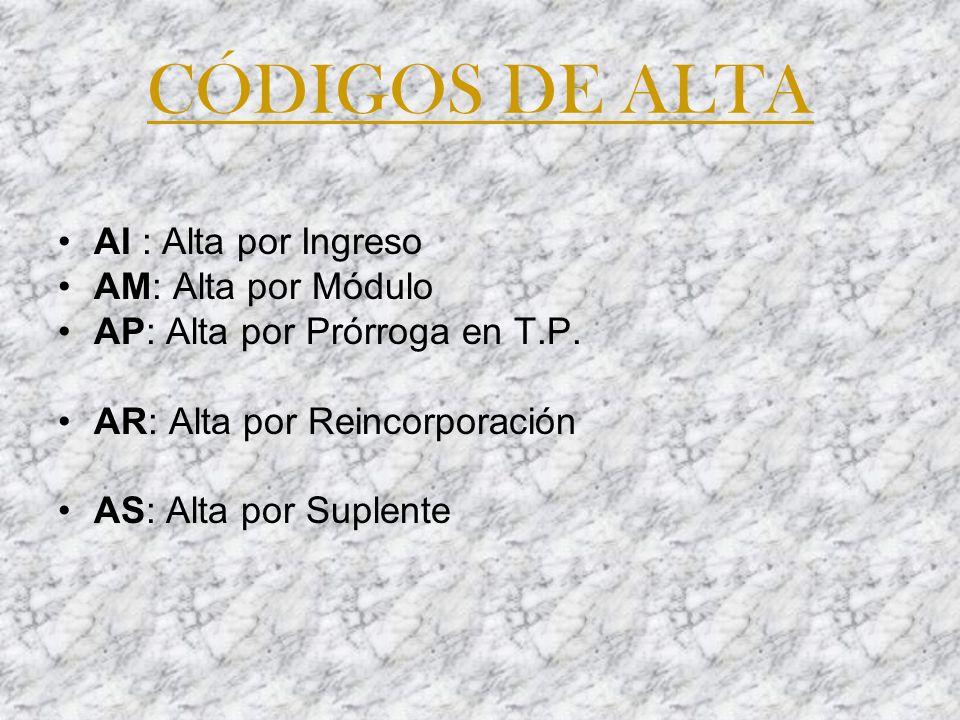 CÓDIGOS DE ALTA AI : Alta por Ingreso AM: Alta por Módulo