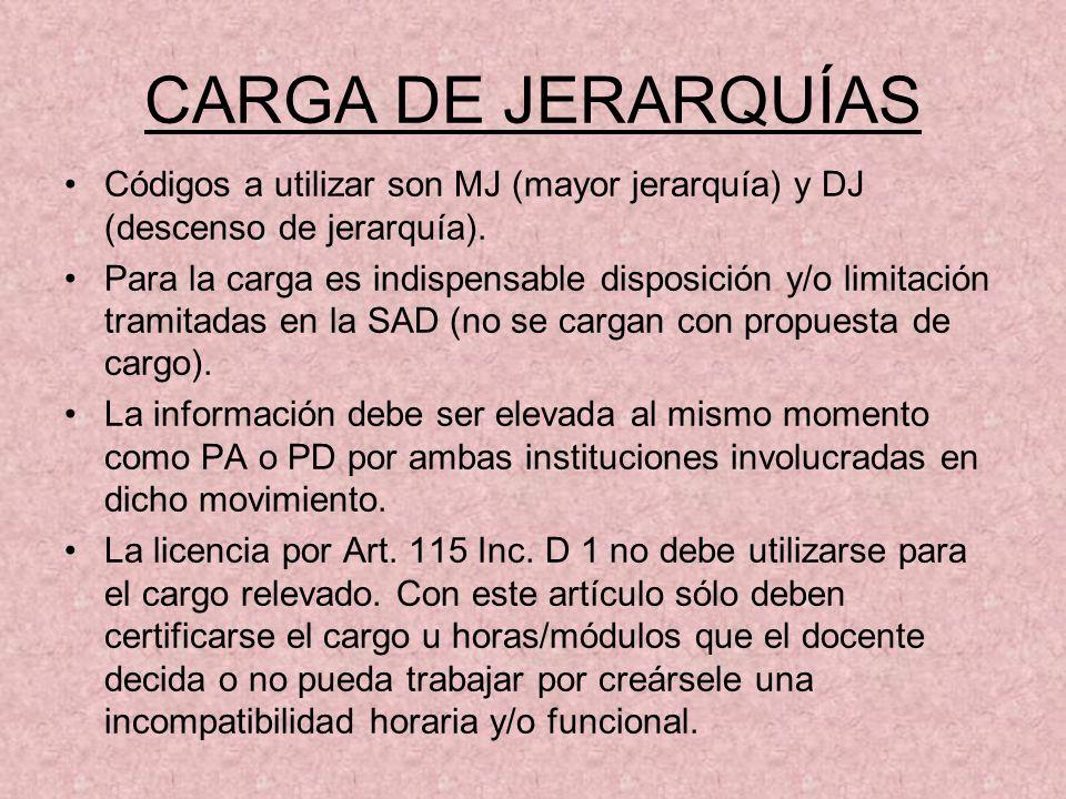 CARGA DE JERARQUÍASCódigos a utilizar son MJ (mayor jerarquía) y DJ (descenso de jerarquía).