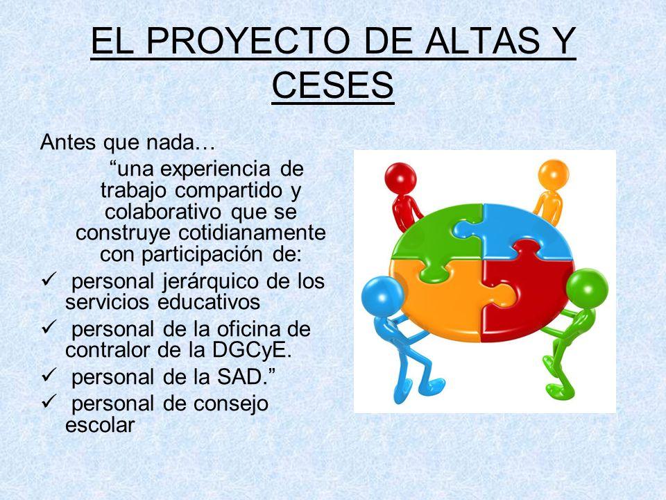 EL PROYECTO DE ALTAS Y CESES