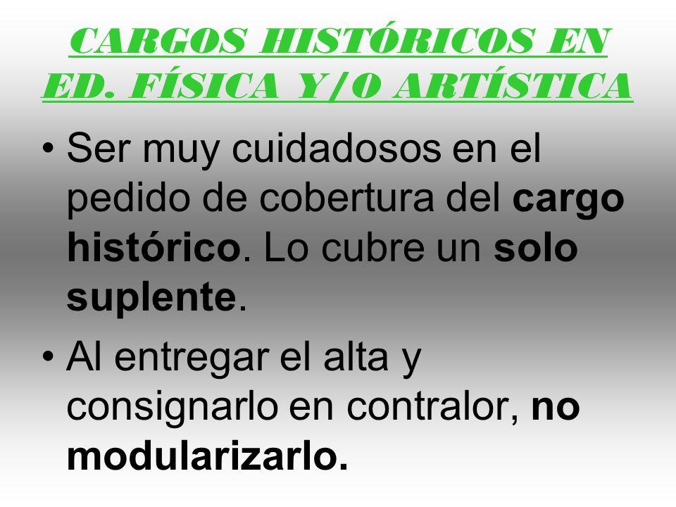 CARGOS HISTÓRICOS EN ED. FÍSICA Y/O ARTÍSTICA