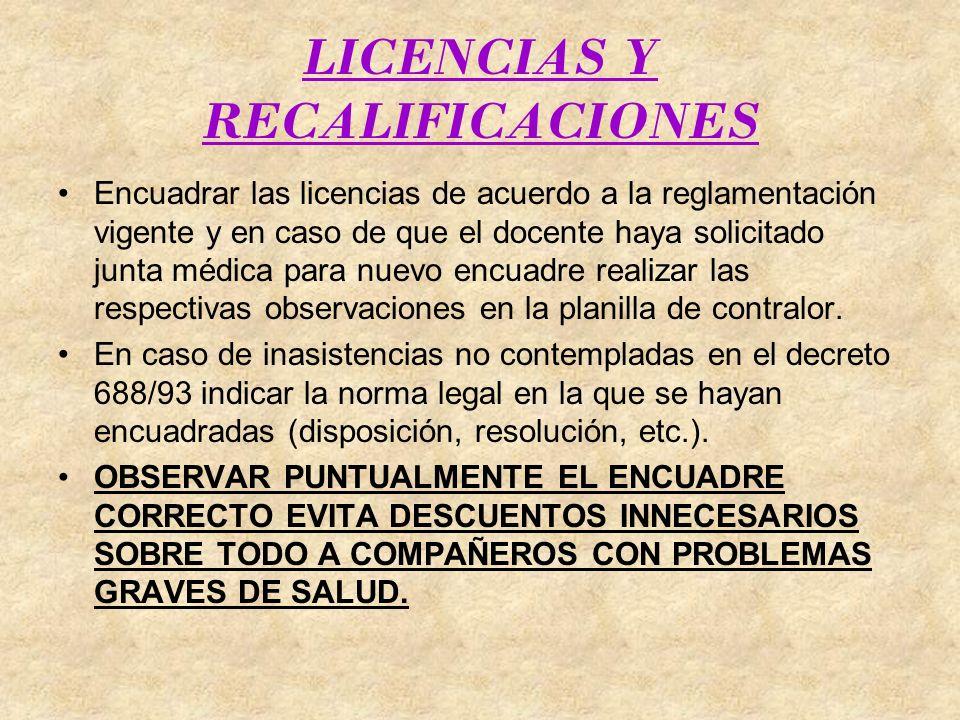 LICENCIAS Y RECALIFICACIONES