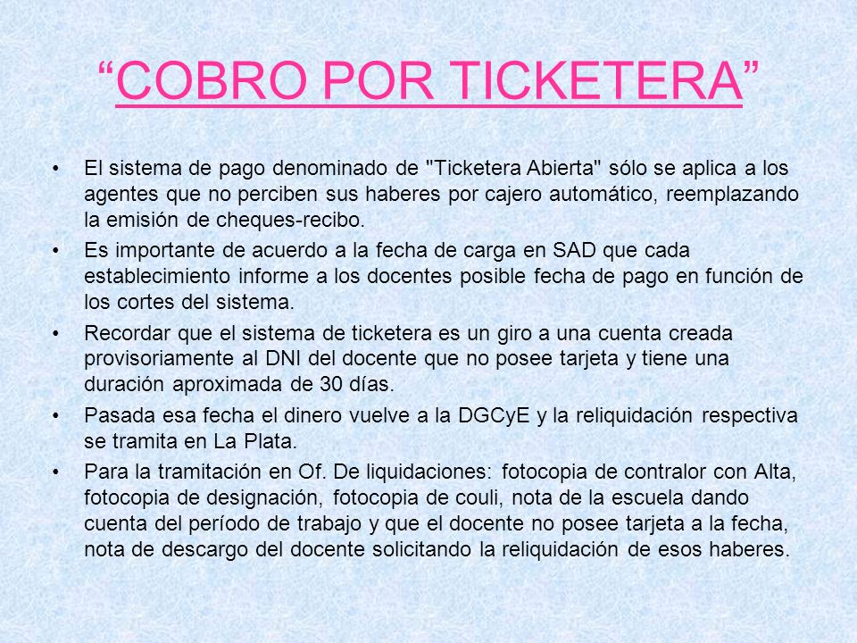 COBRO POR TICKETERA