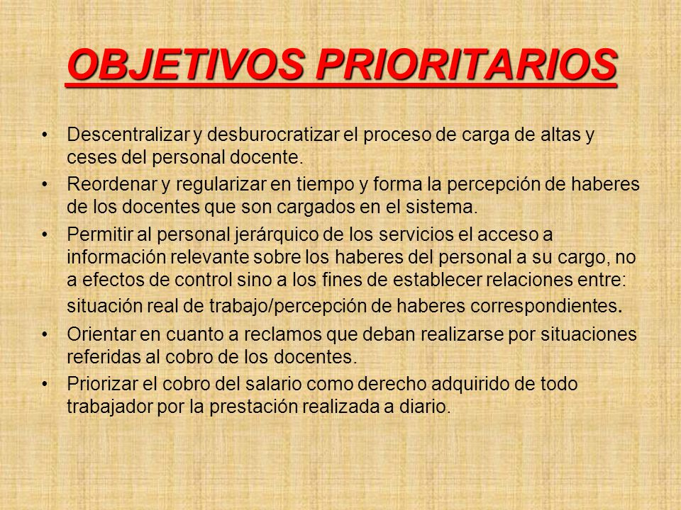 OBJETIVOS PRIORITARIOS