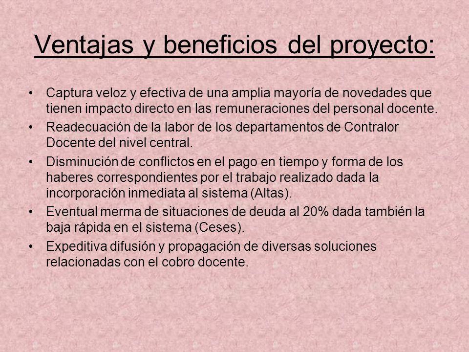 Ventajas y beneficios del proyecto: