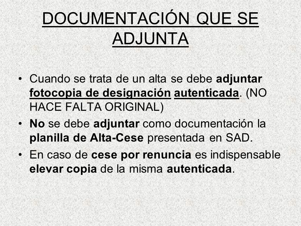 DOCUMENTACIÓN QUE SE ADJUNTA