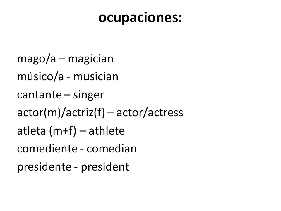 ocupaciones: