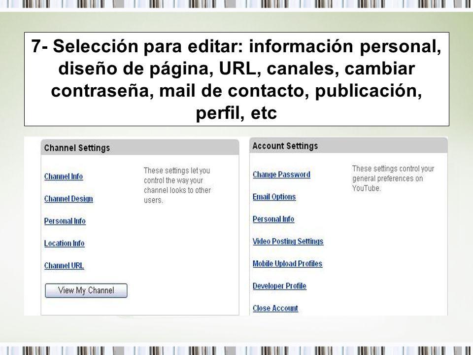 7- Selección para editar: información personal, diseño de página, URL, canales, cambiar contraseña, mail de contacto, publicación, perfil, etc