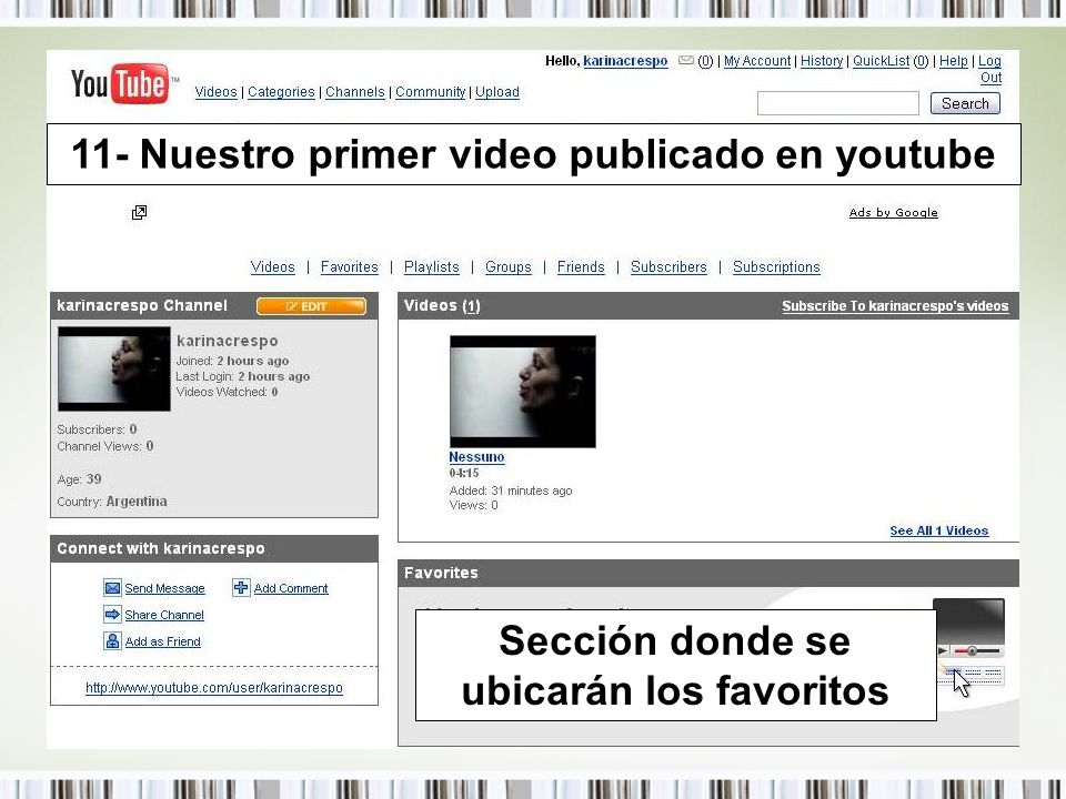 11- Nuestro primer video publicado en youtube