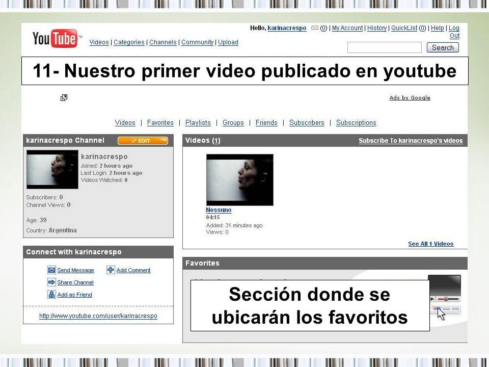 11- Nuestro primer video publicado en youtube