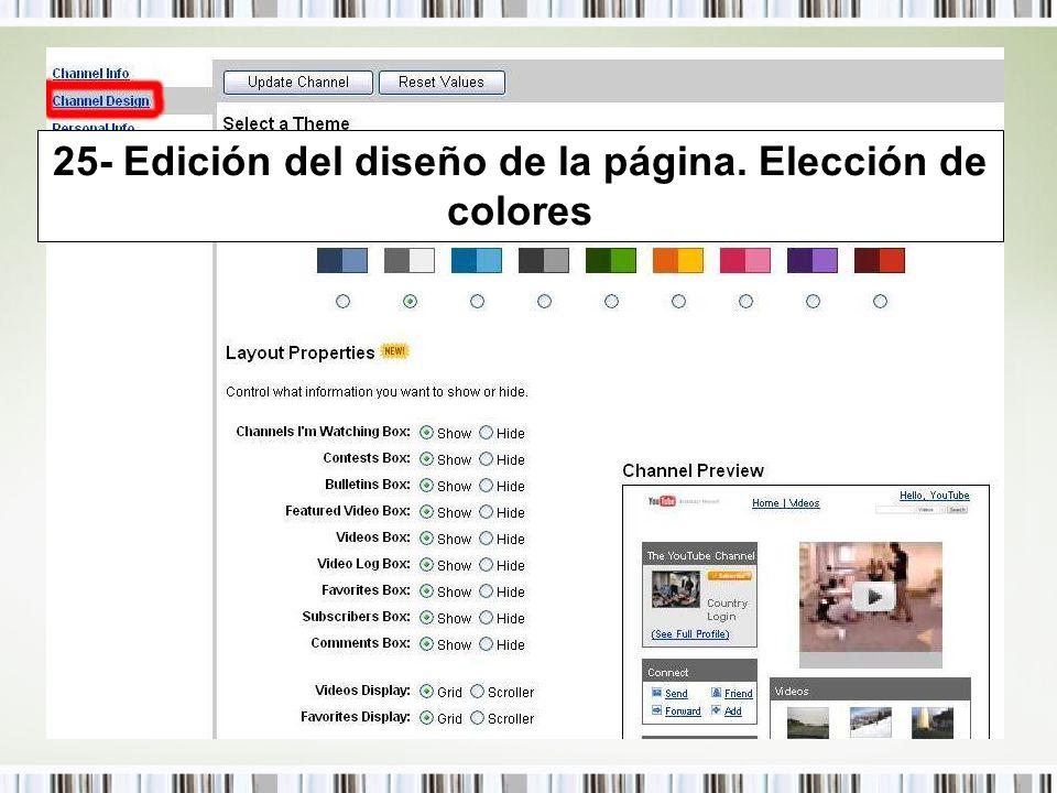 25- Edición del diseño de la página. Elección de colores