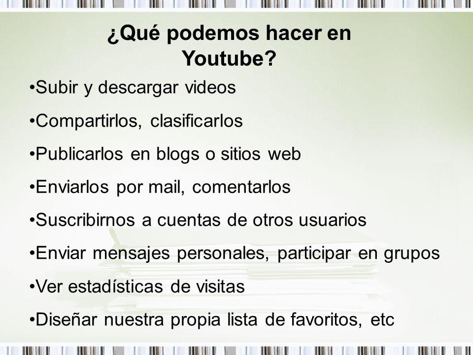 ¿Qué podemos hacer en Youtube