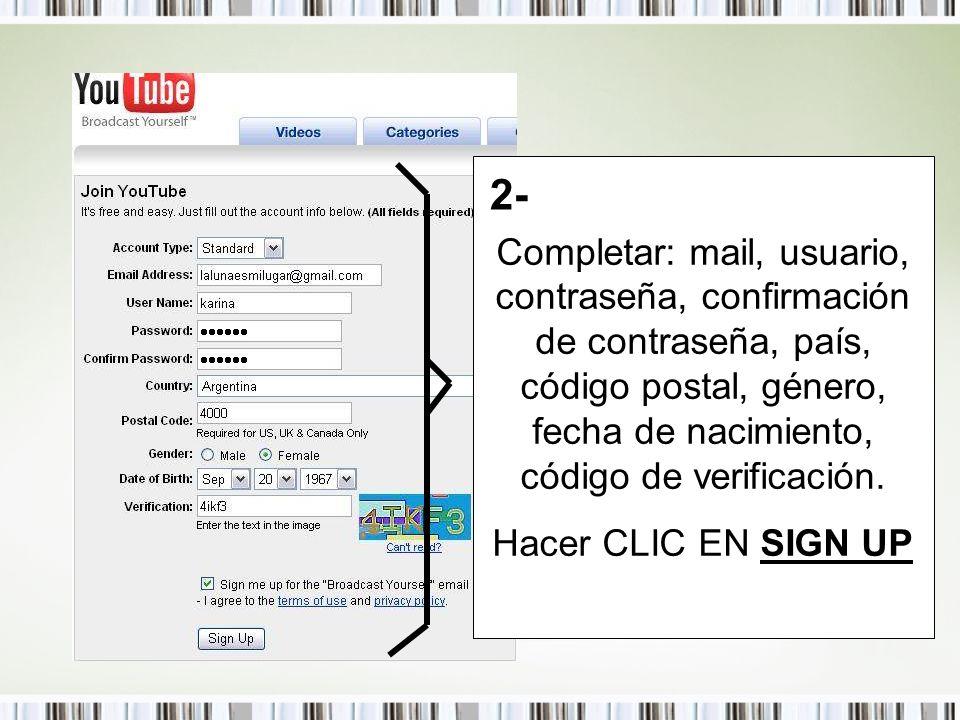 Completar: mail, usuario, contraseña, confirmación de contraseña, país, código postal, género, fecha de nacimiento, código de verificación.