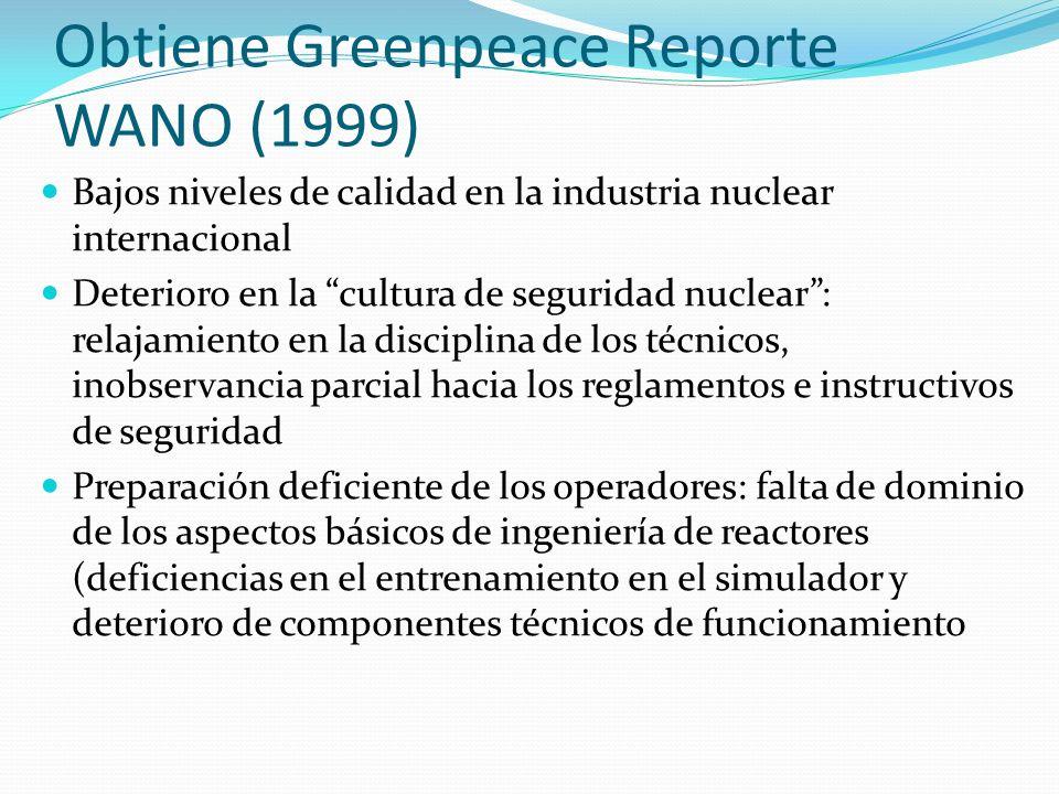 Obtiene Greenpeace Reporte WANO (1999)