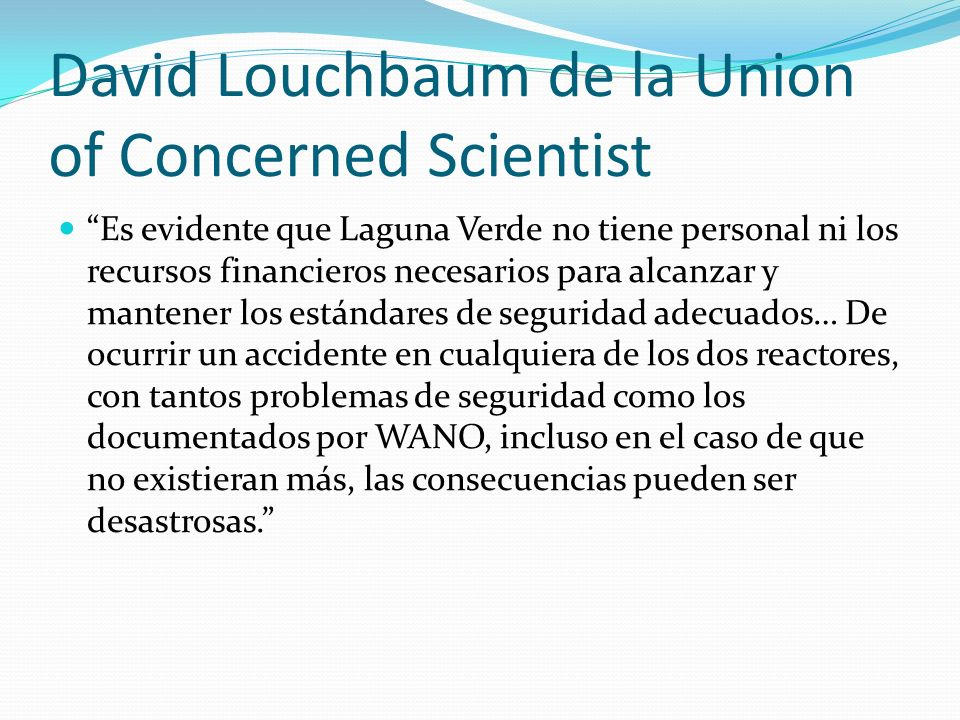 David Louchbaum de la Union of Concerned Scientist
