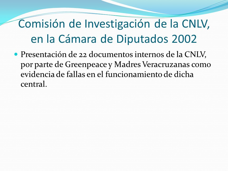 Comisión de Investigación de la CNLV, en la Cámara de Diputados 2002