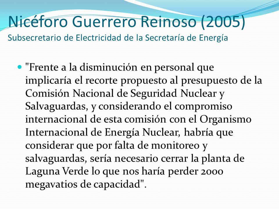 Nicéforo Guerrero Reinoso (2005) Subsecretario de Electricidad de la Secretaría de Energía