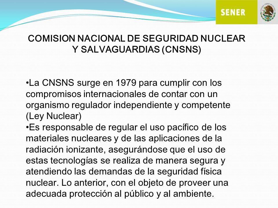 COMISION NACIONAL DE SEGURIDAD NUCLEAR Y SALVAGUARDIAS (CNSNS)