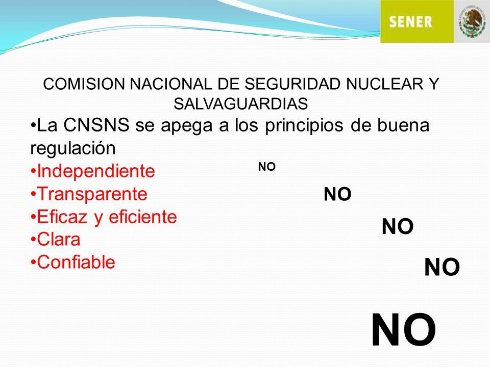 COMISION NACIONAL DE SEGURIDAD NUCLEAR Y SALVAGUARDIAS