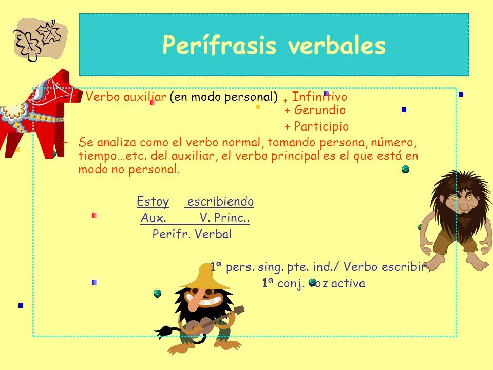 Perífrasis verbales Verbo auxiliar (en modo personal) + Infinitivo + Gerundio.