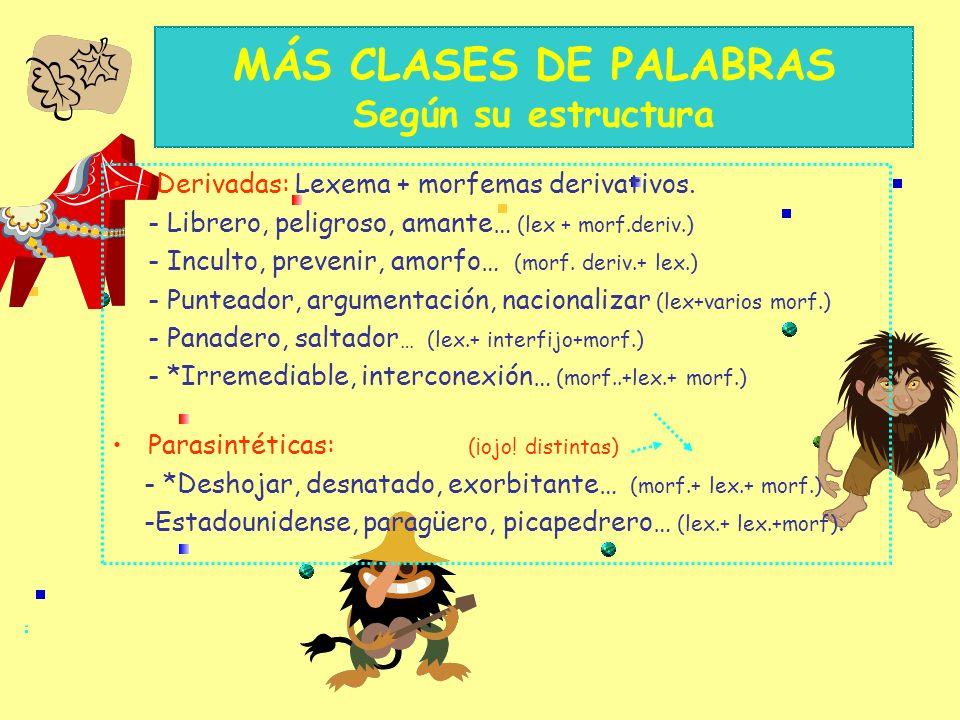 MÁS CLASES DE PALABRAS Según su estructura